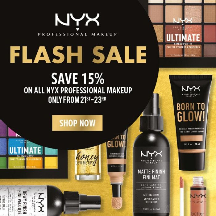 Save 15% on Selected NYX Professional Makeup. Online Only!