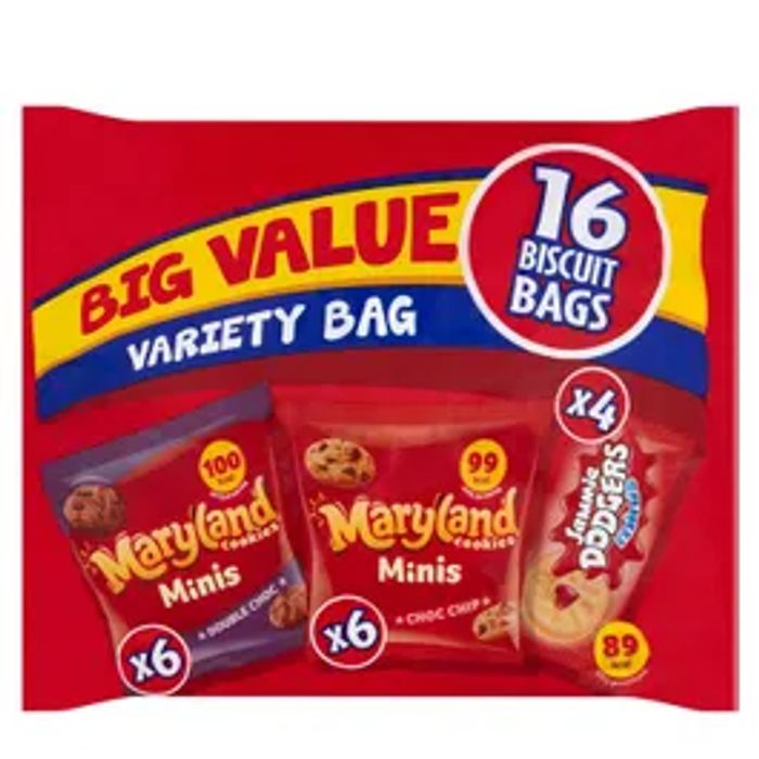 Burton's Big Value Variety Pack Maryland Mini And Mini Jammie Dodgers *16 Pack