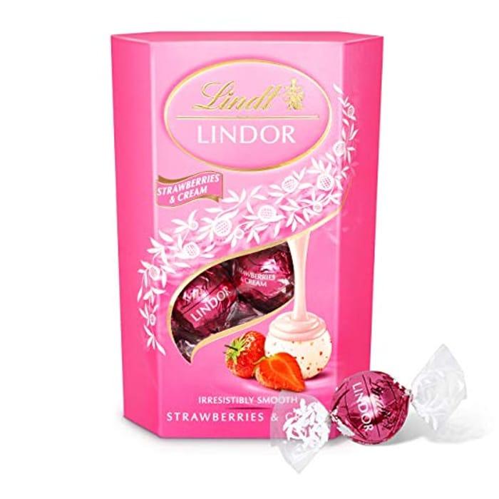 Lindt Lindor Strawberries and Cream Chocolate Truffles Box