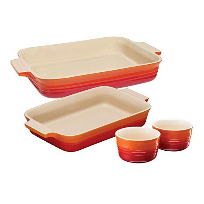 Best Ever Price! Le Creuset 2 Classic Rectangular Dishes and Set of 2 Ramekins