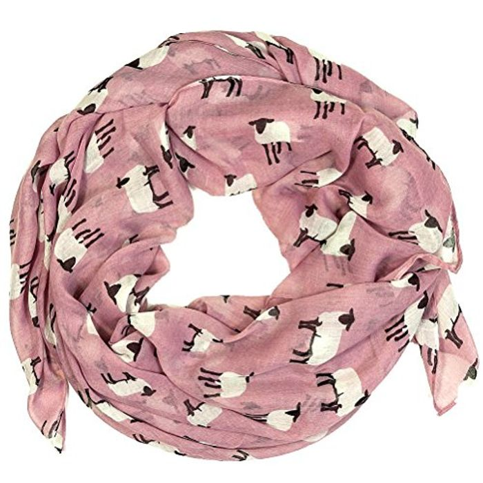 Sheep Print Design Scarves for Women Lightweight Large Size Scarf (Dusty Rose)