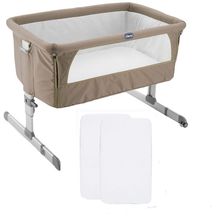 Chicco Next2Me Bedside Crib with 2 Fitted Sheets - Dove Grey
