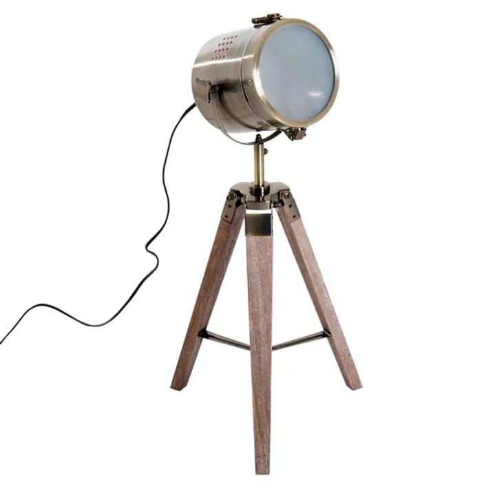 Vintage Tripod Floor Lamp, 33L, Adjustable Height-Wood/Bronze Colour
