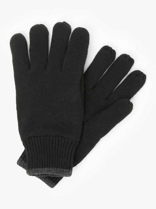 John Lewis & Partners Colour Tipped Fleece Gloves (Black/Charcoal)