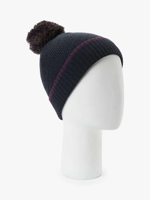 John Lewis & Partners Colour Block Knit Bobble Hat (Blue)