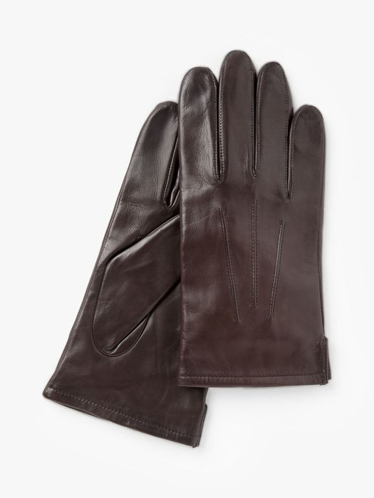 John Lewis & Partners Fleece Lined Leather Gloves, Brown