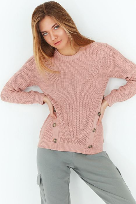 Nude Button Front Jumper