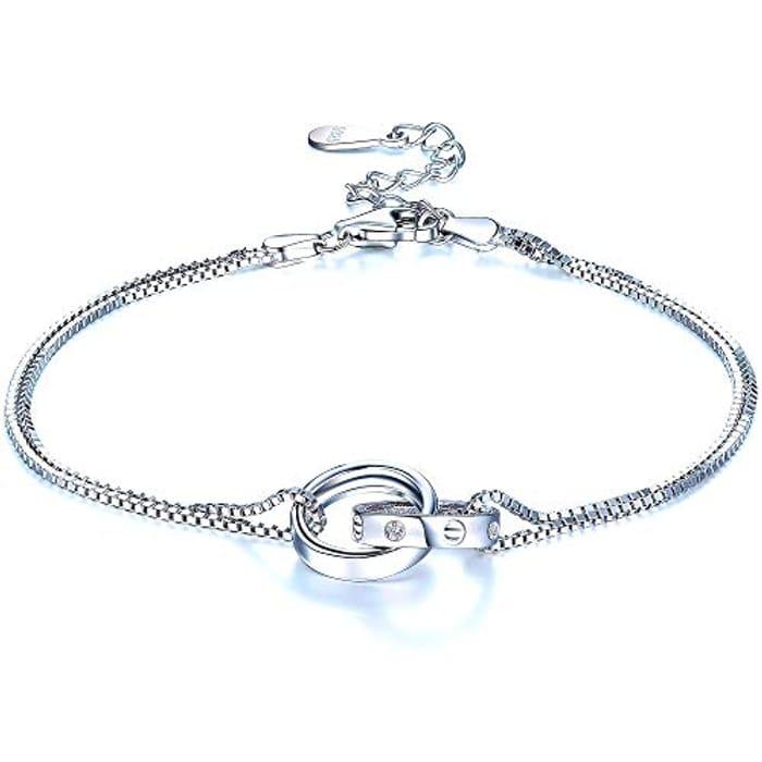 Double Chain Circle Bracelet 925 Sterling Silver Charm Bracelet