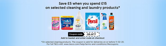 Take £5 off When You Spend £15 or More on Select Cleaning and Laundry