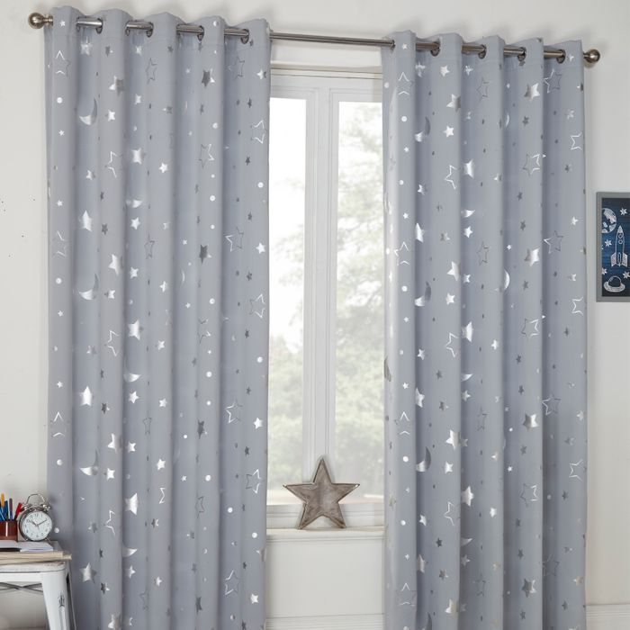 Dreamscene Star Blackout Galaxy Kids Curtains - Silver Grey Size: