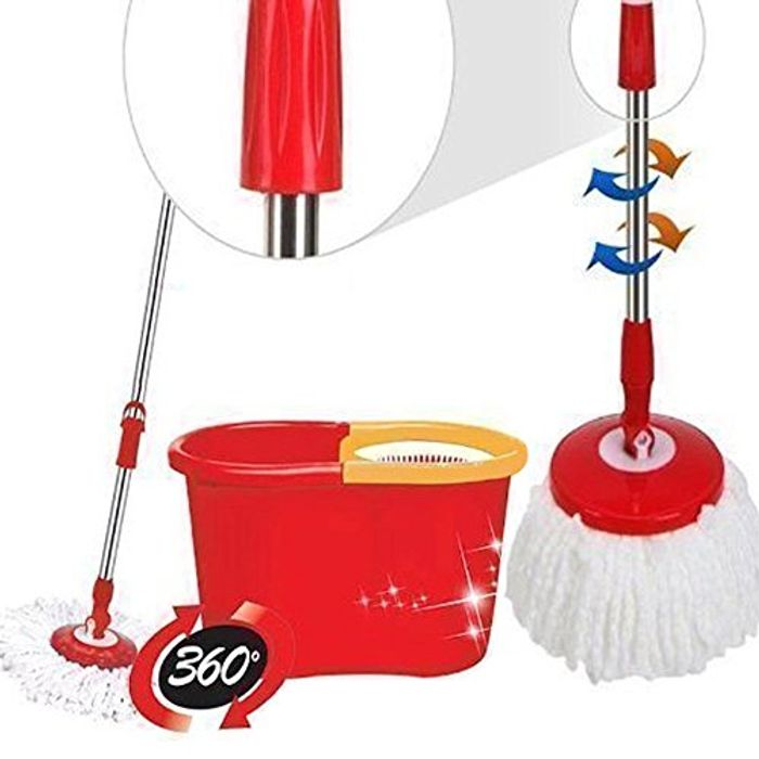 360 Degree Spinning Mop Bucket + Two Mop Heads - 43% Off!