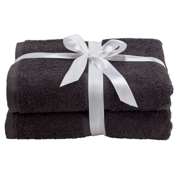 Argos Home Pair of Bath Towels - Black Click and Collect