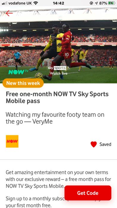 1 Month Free Now Tv Sky Sports on Vodaphone Rewards