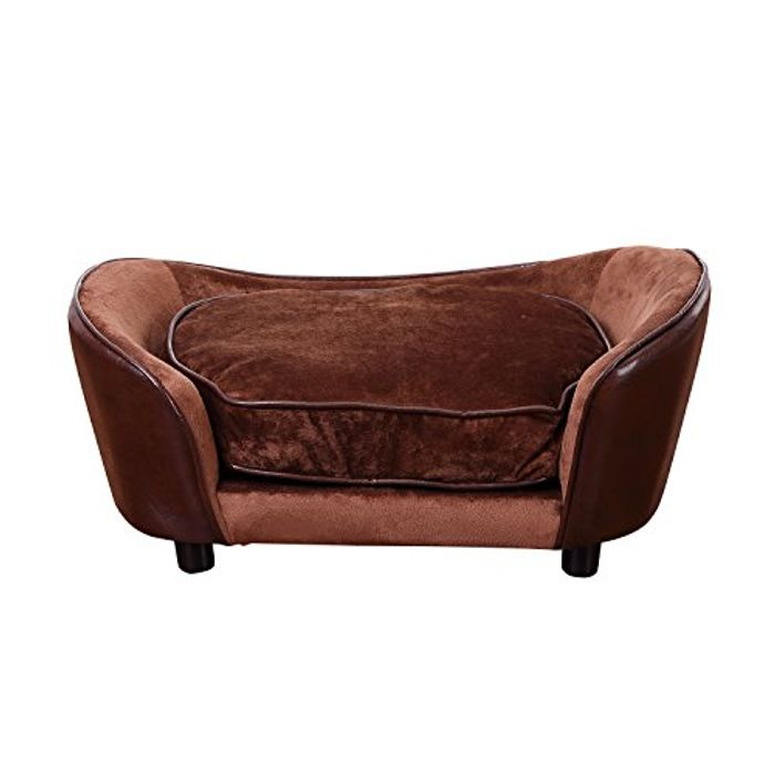 PawHut Luxury Pet Sofa Dog Bed Chair Puppy Cat Kitten Soft Mat Home Indoor