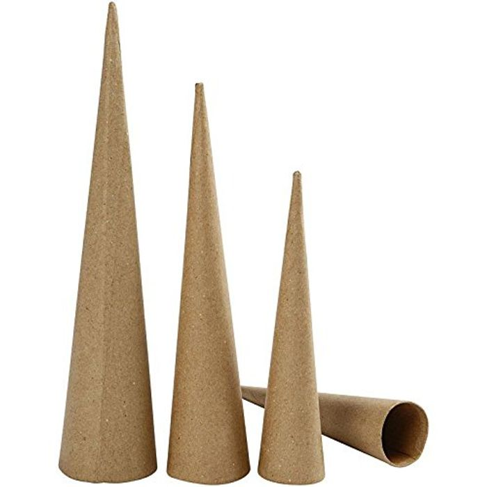Tall Cones, H: 20-25-30 Cm, 3asstd Down From £9.43 to £4.13