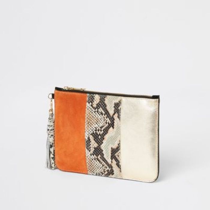 River Island Snakeskin Leather Clutch - Save £10