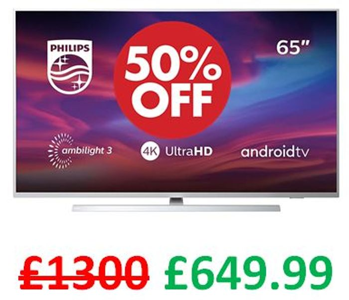 Philips 65-Inch 4K UHD Android Smart TV with Ambilight and HDR 10+ (Alexa)