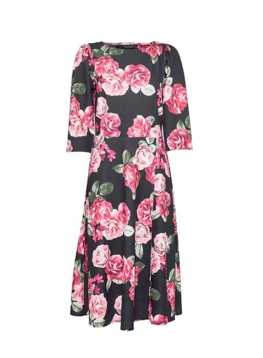 Black Rose Print Midi Dress - Only £25.6!