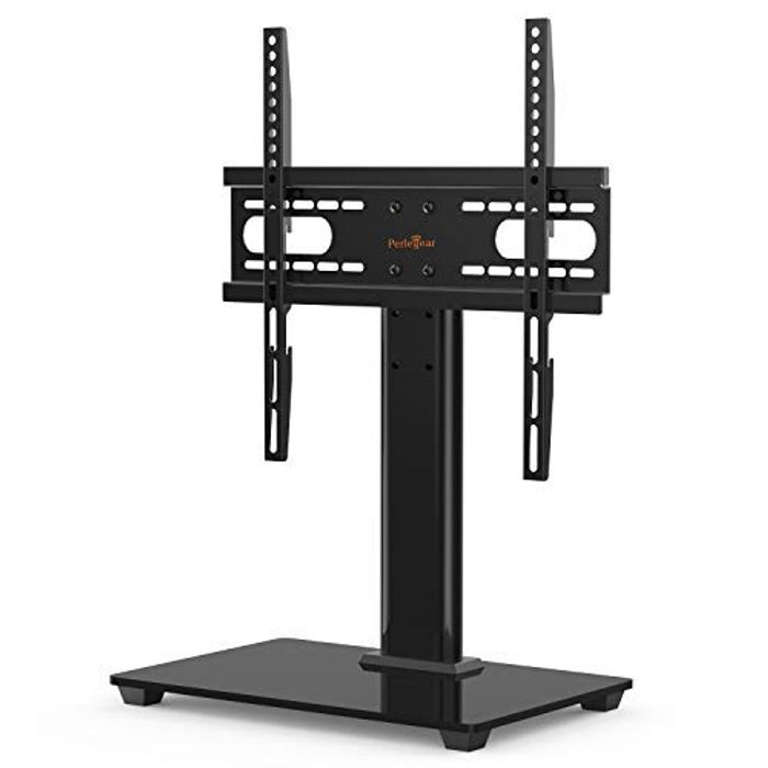 Perlegear Table Top TV Stand for 37-55 Inch LCD/LED TVs-Securely Holds 40 KG