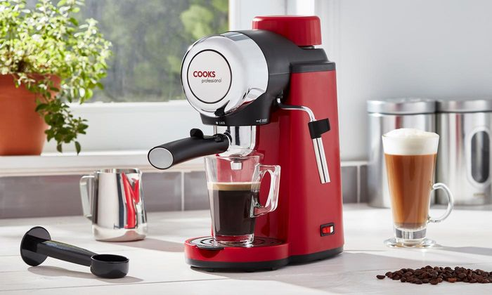 Cooks Professional Espresso Coffee Maker with Milk Jug and Thermometer