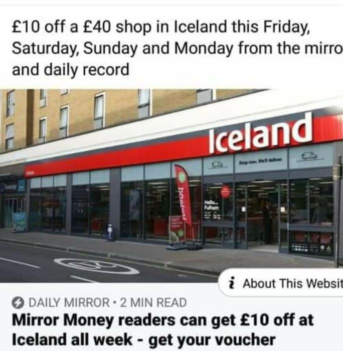 £10 off a £40 Shop at Iceland
