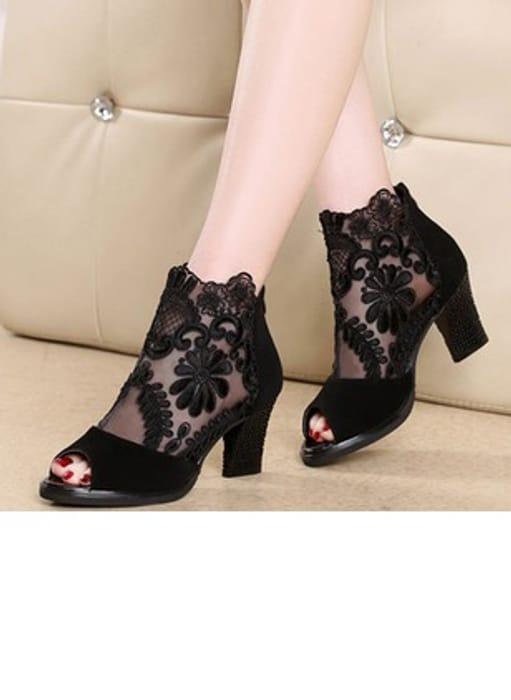 Women's Peep Toe Chunky Heel Pumps