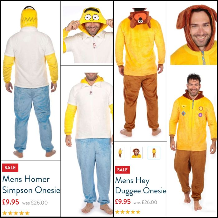 Clearance - Men's Onesies (Hey Duggee + the Simpsons)