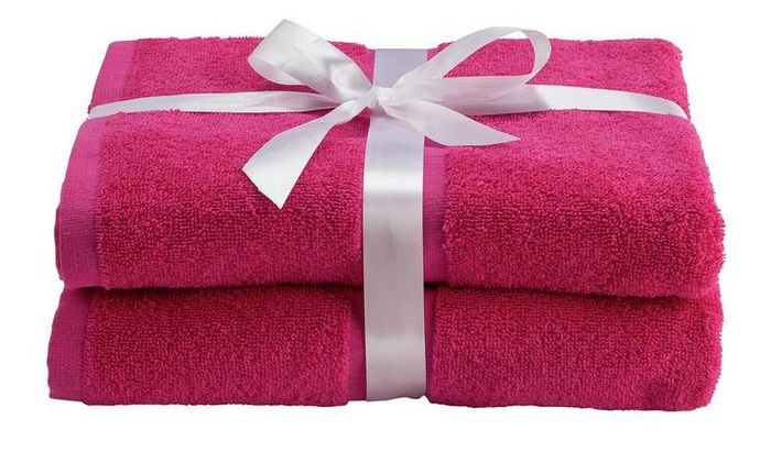 70% Off BARGAIN - 2 Bath Towels in Black, Pink or Yellow Just £2.40 / £1.20 Each