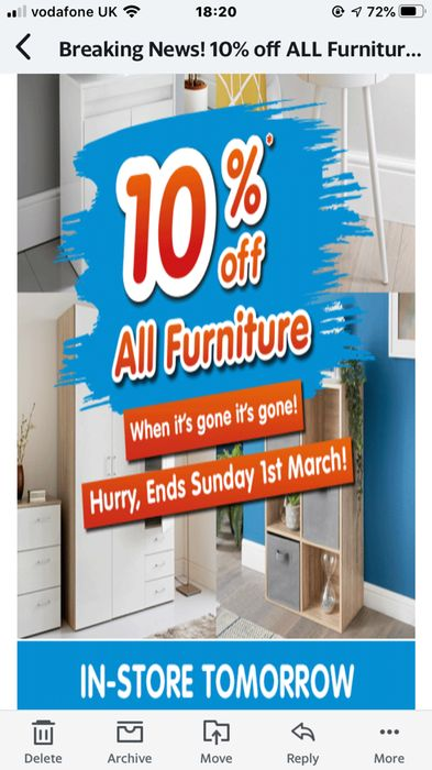 10% off All Furniture at B&M. in Store Only