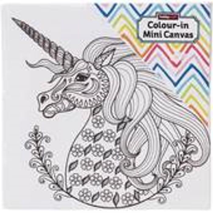 Unicorn Colour-in Mini Canvas