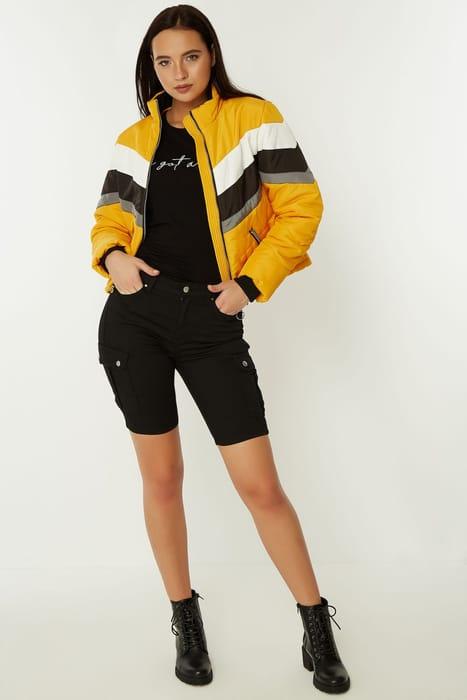 Yellow Colour Block Puffer Coat