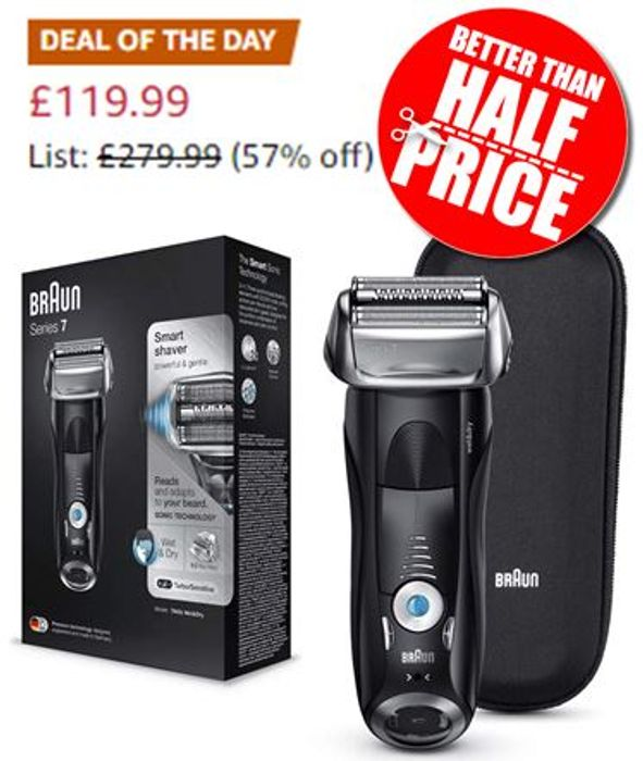 SAVE £160 - Braun Series 7 Electric Shaver for Men 7842s, Wet and Dry,