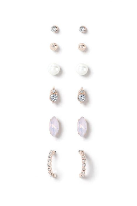 Muse Pearl and Crystal Six Pack Rose Gold Earrings at Bon Marche Only £5