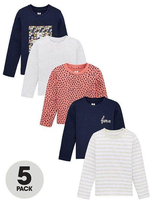 Girls 5 Pack Long Sleeve Printed T-Shirts - Multi Down From £17 to £10