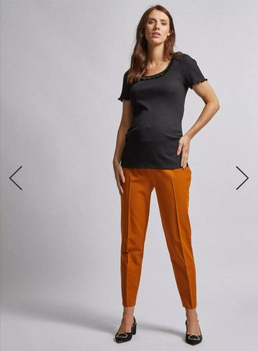Maternity Tan under Bump Ankle Grazer Trousers