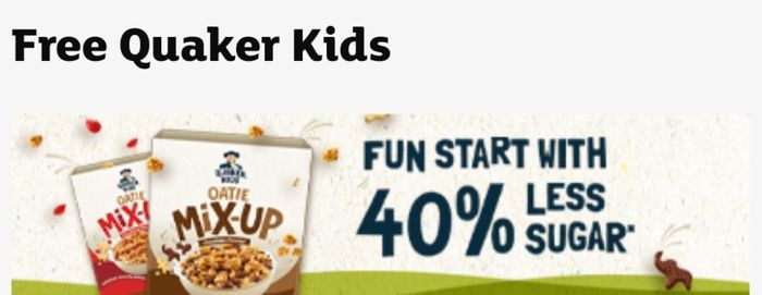 Sainsbury's - Free Quaker Kids with you shop