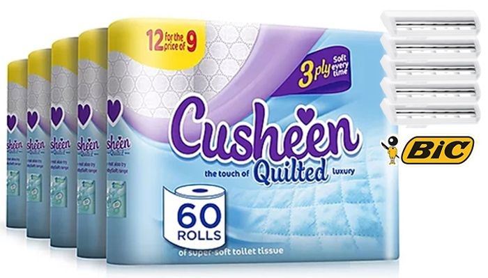 60 or 120 Cusheen 3-Ply Soft White Toilet Rolls