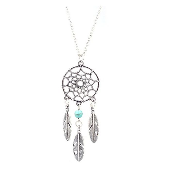 CHEAP! Charm Dream Catcher Beads Feather Pendant Long Necklace Silver