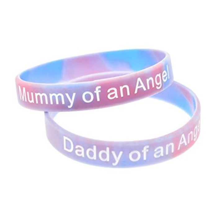 Set of 2 Mummy/Daddy of an Angel Wristband Silicone Bracelet