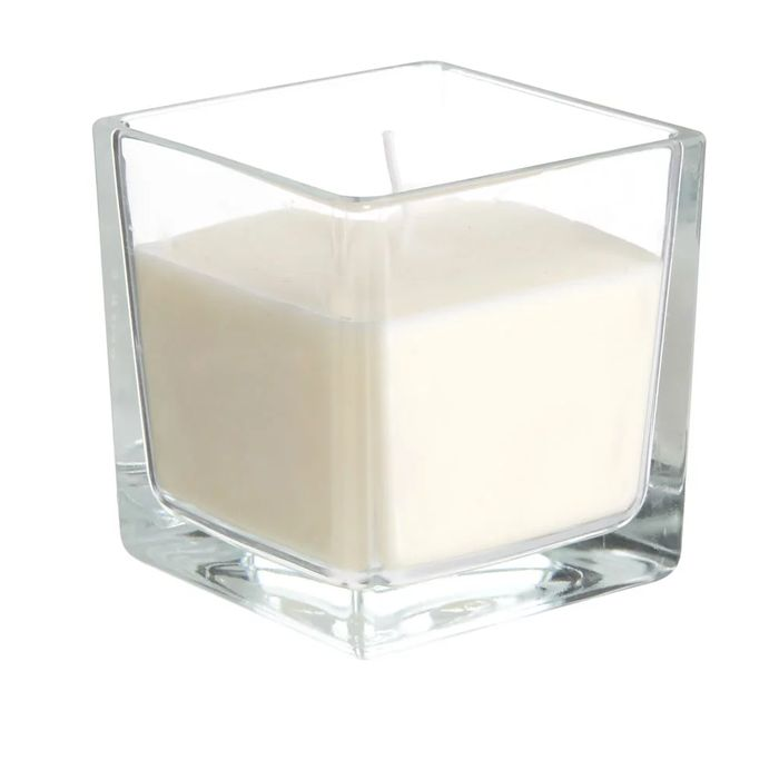 Wilko White Linen and Lily Glass Candle Square