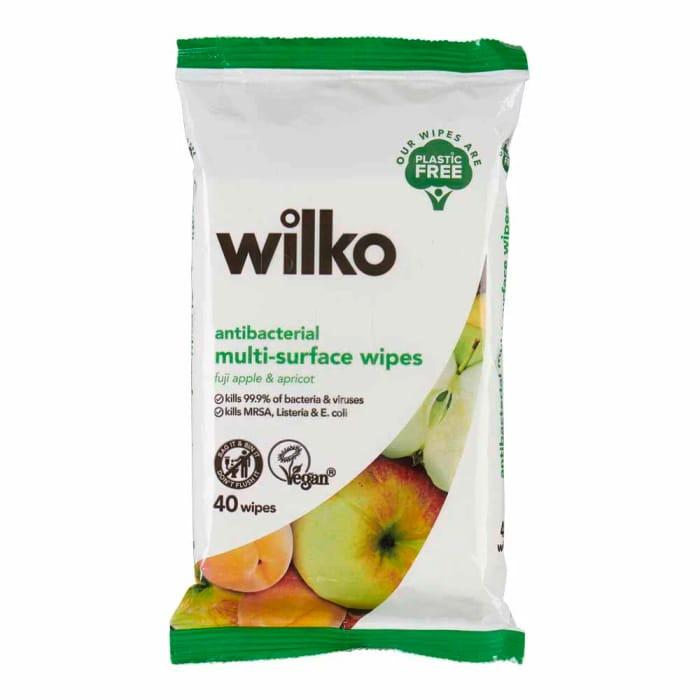 Wilko Plastic Free Antibacterial Apple & Apricot Surface Wipes 40pk