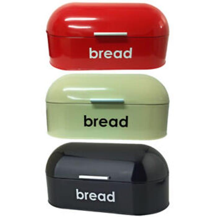American Style Curved Steel Roll Top Bread Bin Food Storage   Red Black Cream