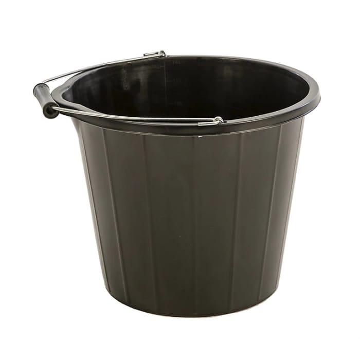 Proplas Black Plastic 14000 Ml Builders Bucket - Only £0.97