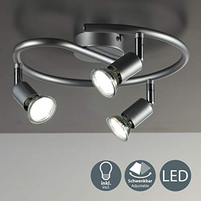 LED 3 Spot Ceiling Mounted Spiral Spotlight with 3x 3W GU10 Bulbs Included