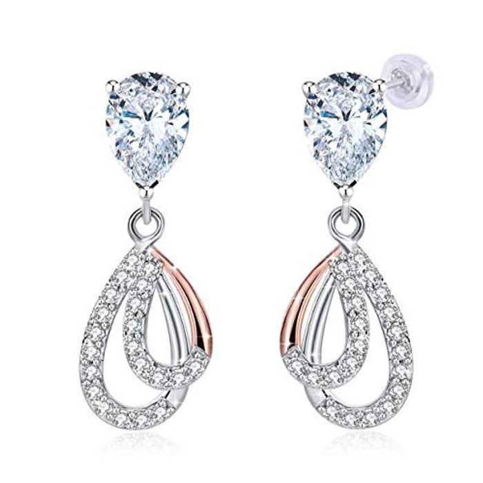 Gift Water Droplet Earrings 925 Sterling Silver Crystal for Women Girls