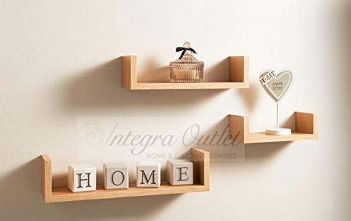 Set of 3 Different Sizes U Shaped Wooden Floating Shelf