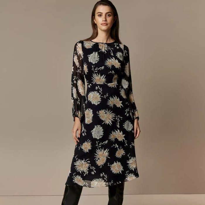 Wallis - Black Oriental Midi Fit and Flare Dress