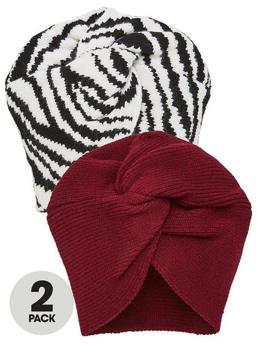 2 Pack Turbans - Black/Burgundy - Save £8.4