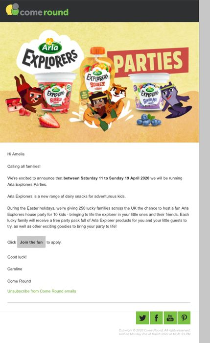 Free Party Pack Full of Arla Explorer Products