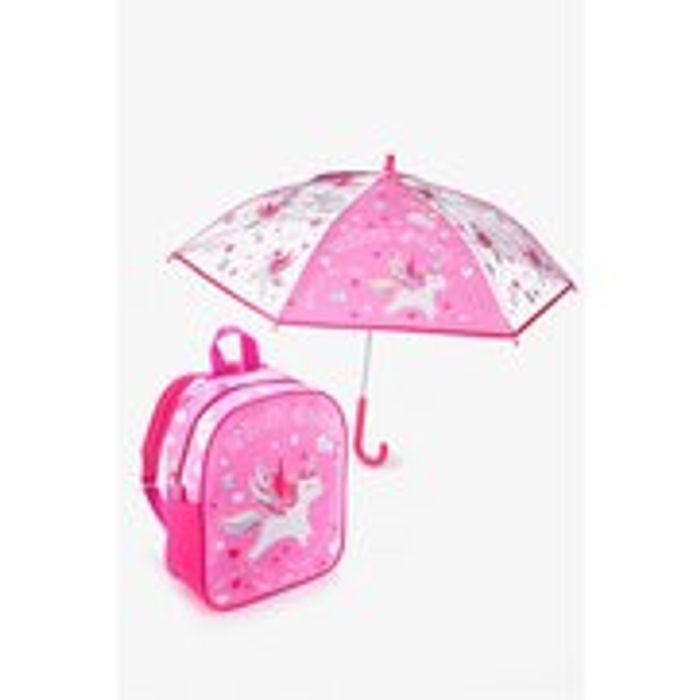 Personalised Unicorn Backpack and Umbrella Set